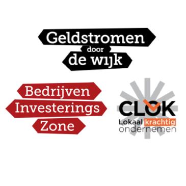 Logo's Geldstromen door de Wijk, BedrijvenInvesteringsZone.BIZ en Stichting CLOK
